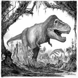 Paleoekologická rekonstrukce dospělého exempláře tyranosaura v jeho přirozeném prostředí. Ačkoliv byl tento obří teropod vrcholovým predátorem svých ekosystémů, nepochybně nebyl imunní vůči různým infekcím a parazitickým onemocněním. Stopy po nich se nám dochovaly přes propast času na kosterních fosiliích těchto fascinujících dinosaurů. Kredit: Vladimír Rimbala, vytvořeno pro autorovu knihu Legenda jménem Tyrannosaurus rex (Pavel Mervart, 2019).