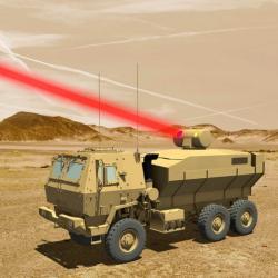 Taktické bojové vozidlo s60 kW vláknovým laserem. Kredit: Lockheed Martin.