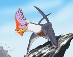 Tupandactylus navigans, jeden ze zajímavých raně křídových ptakoještěrů s výrazným lebečním hřebenem. Je nepochybné, že tito dávní létající plazi vykazovali složité chování podobně jako dnešní ptáci. Kredit: Dmitrij Bogdanov (CC BY-SA 3.0, Wikipedie)