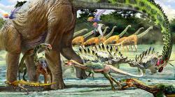 Ukázka fauny v ekosystémech pozdní jury současné Tanzanie. Krajině dominuje obří rodGiraffatitan, kterému sekundují teropodi rodu Elaphrosaurus a stegosauridi rodu Kentrosaurus. Kredit: Luis V. Rey, převzato se svolením z jeho blogu.