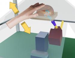 Schéma aerohaptického systému. Čidlo registruje naší ruku a spouští směrovaný proud vzduchu. Ten v baro receptorech, které máme v kůži, vyvolá vzruch a mozek si to propojí s promítaným obrázkem (například ruky) a vyhodnotí to jako její dotek. Kredit: BEST research group University of Glasgow.