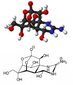 Termostabilní neurotoxin tetrodotoxin C11H17N3O8.  Bílá krystalická a ve vodě rozpustná látka látka nebílkovinnépovahy. Produkují ji sinice, odkud se dostává do živočichů živících se planktonem. Častým zdrojem otravy jsou ryby čeledi Čtverzubcovití. Toxin ale zvládají produkovat i bakterie (Pseudomonas,Vibrio a další).