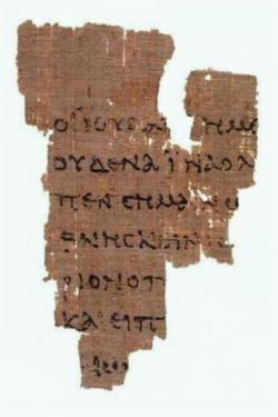 P 52 Rylands. Fragment papyru s opisem Evangelia podle Jana. Egypt, kolem roku 125. Kredit: John Rylands Library via Wikimedia Commons.
