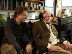 Profesor Thomas Hertog a profesor Stephen Hawking, 27. 1. 2015 Kredit:  KU Leuven