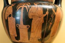 Artemis a Apollón u oltáře s palmou na Délu, 450 před n. l. Kredit: Wikimedia Commons.