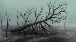 Ilustrace zobrazující ponurou atmosféru post-apokalyptického světa nejranějšího paleocénu. Osamělý jedinec ornitopodního dinosaura rodu Thescelosaurus je v tomto zdevastovaném světě odsouzen k pomalé smrti postupnou otravou toxickými plyny nebo vyhladověním. Kredit: PaleoEquii; Wikipedie (CC BY-SA 4.0)