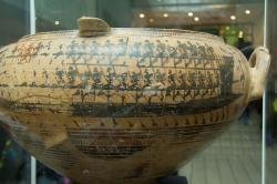 Théseova loď. Malba na keramice, 735-720 před n. l. Kredit: Wikimedia Commons.