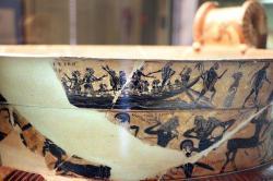Athéňané posílají lidské oběti na Krétu. Malba na keramice, 570-550 před n. l. Kredit: Wikimedia Commons.