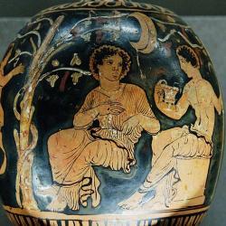 Dionýsos a Ariadné na Naxu, 380 před n. l.. Kredit: Wikimedia Commons