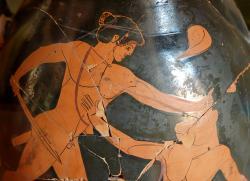 Théseus a Mínótauros, 480 před n. l. Kredit: Wikimedia Commons.