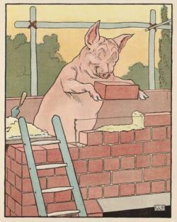 """Zatímco my jsme se učili jak prasátko staví zeď, pro naše vnuky by v popisku klidně mohlo být: """"Prasátko staví baterii"""". Převzato z publikace Three Little Pigs (Knihovna kongresu USA)."""