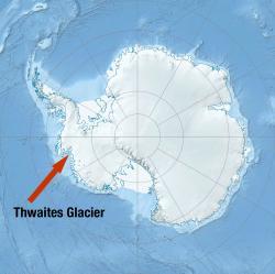 """Ledovec Thwaites - """"spoluviník"""" zvyšováním mořské hladiny. (Kredit: Universit of Texas Austin)"""