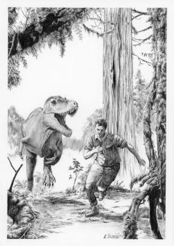 Pro tvora o velikosti dospělého člověka byla mnohem větším nebezpečím odrostlá mláďata druhu Tyrannosaurus rex. Zatímco pro dospělce by byl člověk jen skromným soustem, přibližně desetiletí tyranosauři by se z něj už nasytili vydatněji. Na rozdíl od dospělých tyranosaurů by také neměli problém člověka rychle dohnat. Běhali totiž nejspíš rychlostí až kolem 50 km/h. Kredit: Vladimír Rimbala; ilustrace k autorově knize Poslední dny dinosaurů.