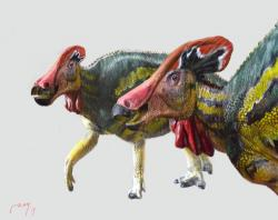 Umělecká rekonstrukce přibližného vzezření nově popsaného lambeosaurinního hadrosaurida druhu Tlatolophus galorum. Tento velký kachnozobý dinosaurus žil v období pozdní křídy na území současného Mexika. Patřil nejspíš k největším zástupcům dinosauří megafauny v ekosystémech souvrství Cerro del Pueblo. Kredit: Luis V. Rey, využito se svolením autora.
