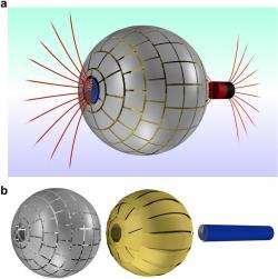 Magnetická červí díra a její tři vrstvy. Kredit: Prat-Camps et al. (2015), Scientific Reports.