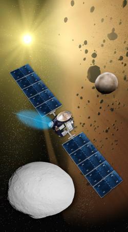 Umělecká představa sondy Dawn a práce jejího iontového motoru NSTAR (zdroj NASA).