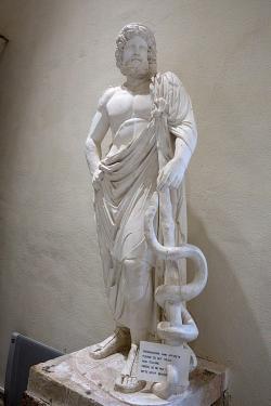 Sádrový odlitek římské kopie pozdně klasické sochy Asklepia, 160 n. l. Typus sochy tohoto boha. Nalezeno v komplexu Asklépiovy lázně a knihovny. Archeologické muzeum v Epidauru, EAM 263. Kredit: Zde, Wikimedia Commons.