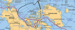 Severozápadní mořská cesta (výřez mapy Encyclopaedia Britannica)