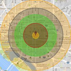Zásah Washingtonu D. C. jadernou zbraní o síle 20 kilotun. Kredit: Nukemap.