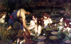 Hylás a nymfy.  Kredit: John William Waterhouse (1896),  Manchester Art Gallery