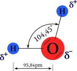 Geometrie molekuly vody. Kredit: Paddy / Wikimedia Commons.