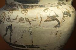 Muži s luky, malba na mykénském kratéru z Enkomi na Kypru, 13. století před n. l. Britské muzeum, GR 1897.4-1.928. BM Cat Vases C333. Kredit: Zde, Wikimedia Commons. Licence CC 4.0.