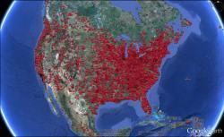 Jak by se asi šířily zombie vseverní Americe? Kredit: MIT.