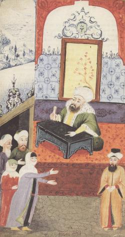 Nešťastná žena si stěžuje u soudce (qadi)na manželovu neschopnost.Osmanská miniatura. Kredit: Sema Nilgün Erdoǧan, Sexual life in Ottoman society, volné dílo.