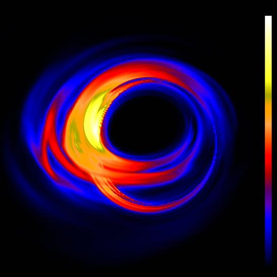 Jak asi bude vypadat Sagittarius A* pohledem Event Horizon Telescope? Simulace zroku 2010. Kredit: Dexter et al. (2010).