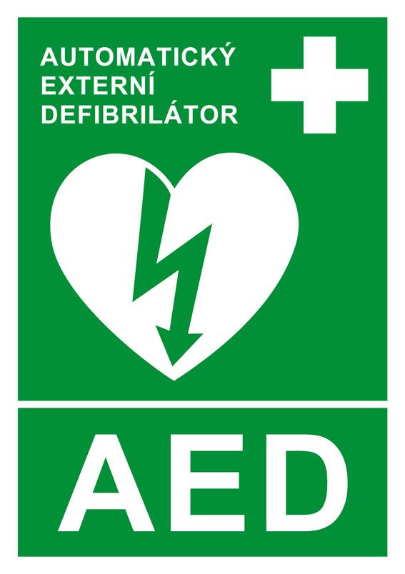 Symbol, označujúci umiestnenie automatického externého defibrilátora.