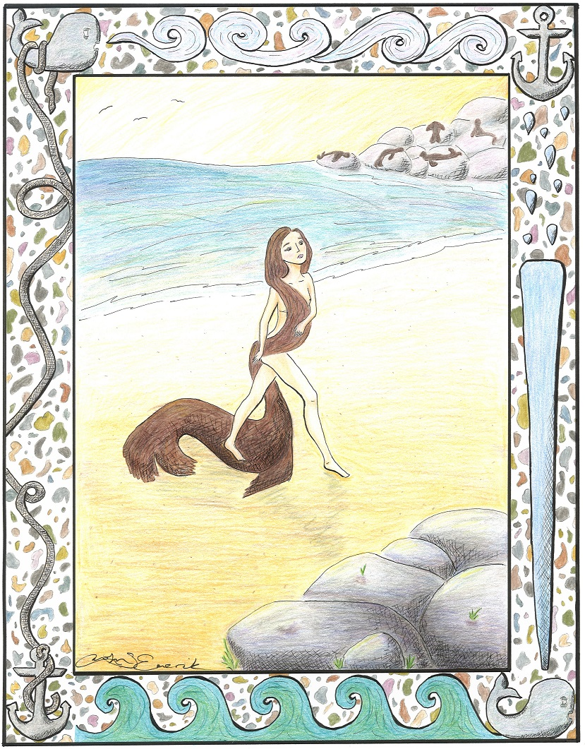 Selkie, žena z moře. Kredit: Carolyn Emerick,  Celtic Guide Vol. 2 Issue 9, Wikiedia.