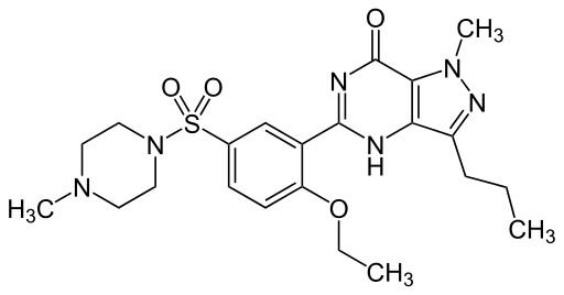 """Zatímco v případě Viagry práci vykonává inhibitor fosfodiesterázy (na obrázku je sildenafil), u veřejných vytrvalostních sportů se jako podpůrný prostředek nabízí aktivátor receptoru genu PPARD, látka s pracovním názvem GW1516 (familierně jen """"GW"""")."""