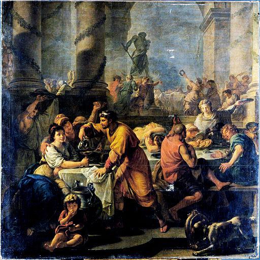 Saturnálie. Antoine Callet, 1783. Kredit: http://elgloboenlaluna.blogspot.com/2012/12/felices-saturnalias.html via Wikimedia Commons.