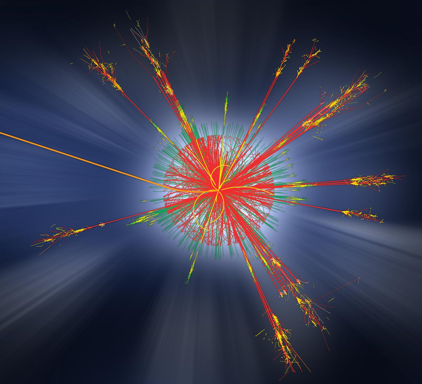 Simulace vzniku hypotetické mikroskopické černé díry a jejího vypaření Hawkingovým zářením (zdroj ATLAS, CERN).