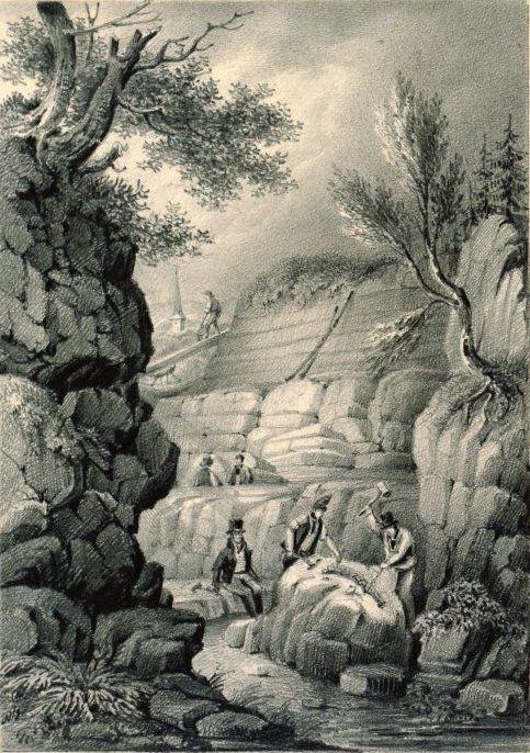 Dobová ilustrace, znázorĹ?ujĂcĂ Gideona Mantella peÄŤlivÄ› dohlĂĹľejĂcĂcho na prĹŻbÄ›h vykopávek v jednom z lomĹŻ v okolĂ Tilgate Forest. PrávÄ› odtud zĂskával fosilnĂ materiál, kterĂ˝ mu poslouĹľil k vÄ›deckĂ©mu popisu druhĂ©ho známĂ©