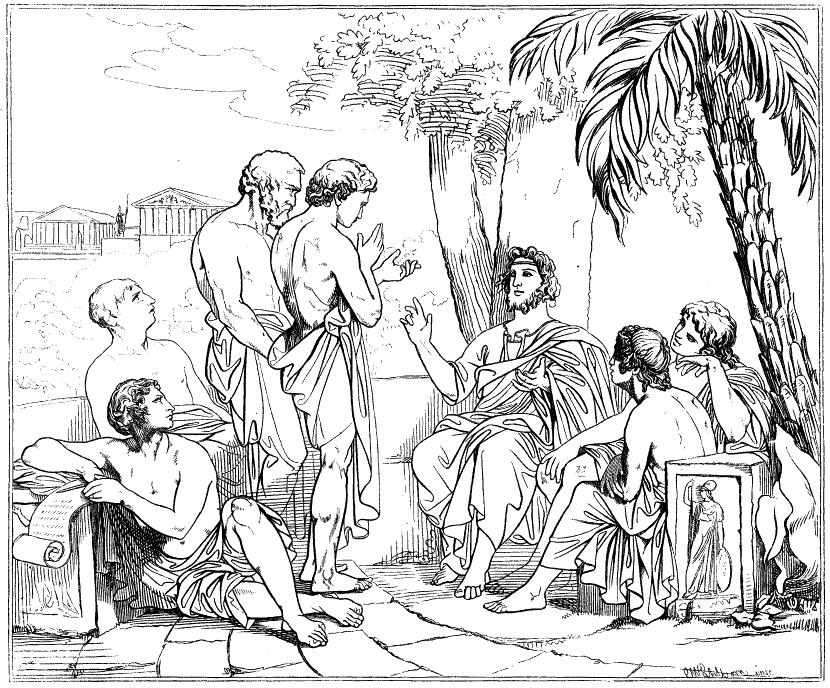 Platón při výuce v představě 19. století, podle obrazu Carla Wahlboma (1810-1858). Kredit: Svenska Familj-Journalen, Band 18, ?rg?ng 1879/73. Wikimedia Commons.