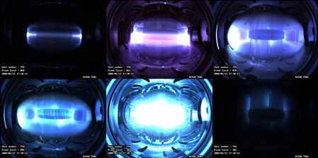 Snímky plazmatu vznikajícího jihokorejském tokamaku KSTAR (zdroj KSTAR)