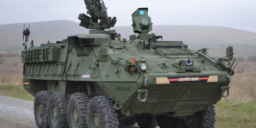 Obrněné vozidlo Stryker s5kW laserem MEHEL. Kredit: US Army.