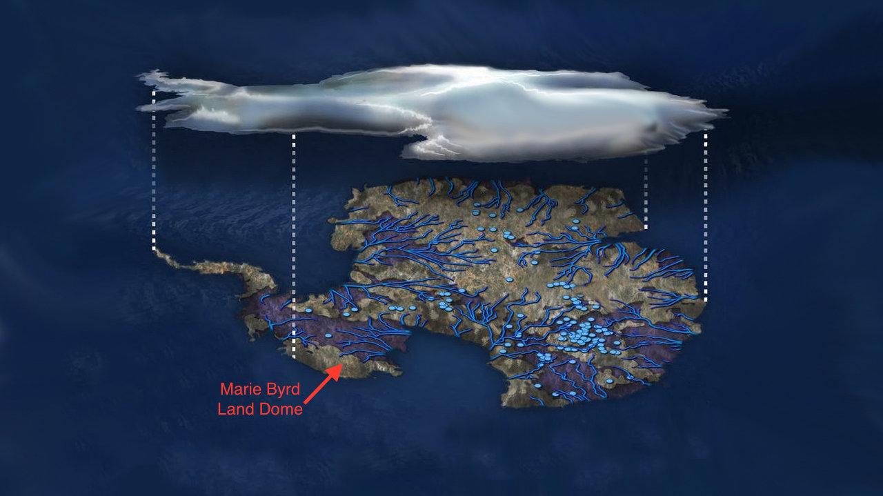 Ilustrace mapující vody v tekutém stavu nacházející se pod zmrzlým povrchem Antarktidy.Modré tečky jsou jezera, čáry znázorňují  řeky.Šipkou je označena lokalita pojmenovaná Země Marie Byrdové. Tato částna západě sahá až kRossovu moři. Jméno má p