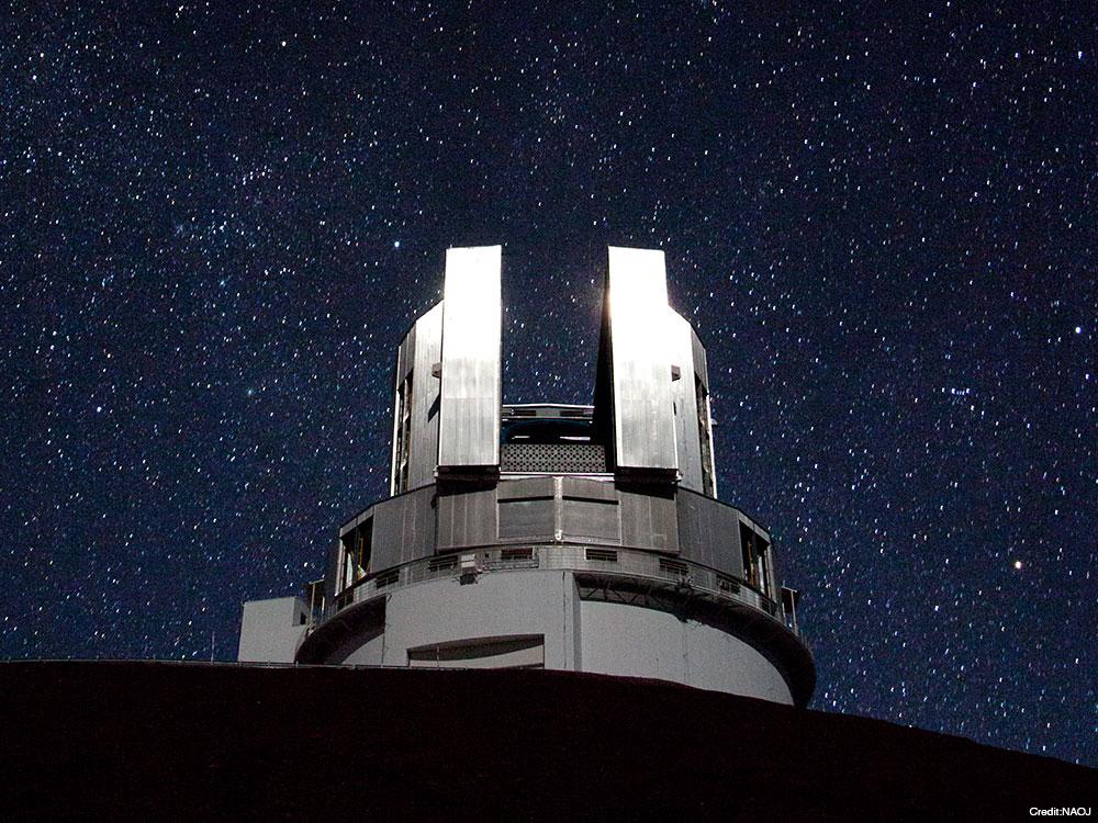 Teleskop Subaru na Havajských ostrovech. Kredit: NAOJ.