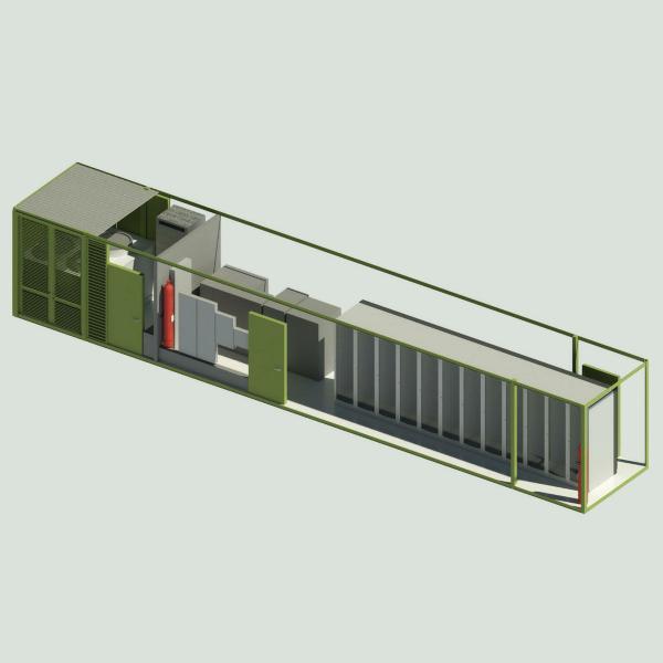 Superpočítač vpřepravním kontejneru. Kredit: Huntsville Center.