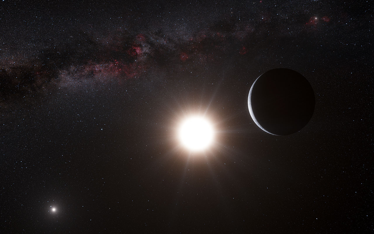 Tak vypadá možný pohled na planetu u Alfa Kentaura, náznaky jejíž existence byly objeveny na základě dat ze spektrometru HARPS (zdroj ESO/L. Calcada/N Risinger (skysurvey.org))