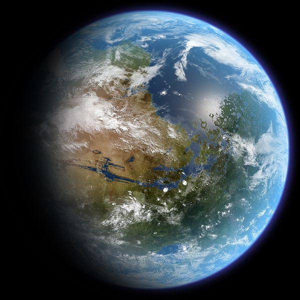 Terraformovaný Mars. Kredit: Daein Ballard / Wikimedia Commons.