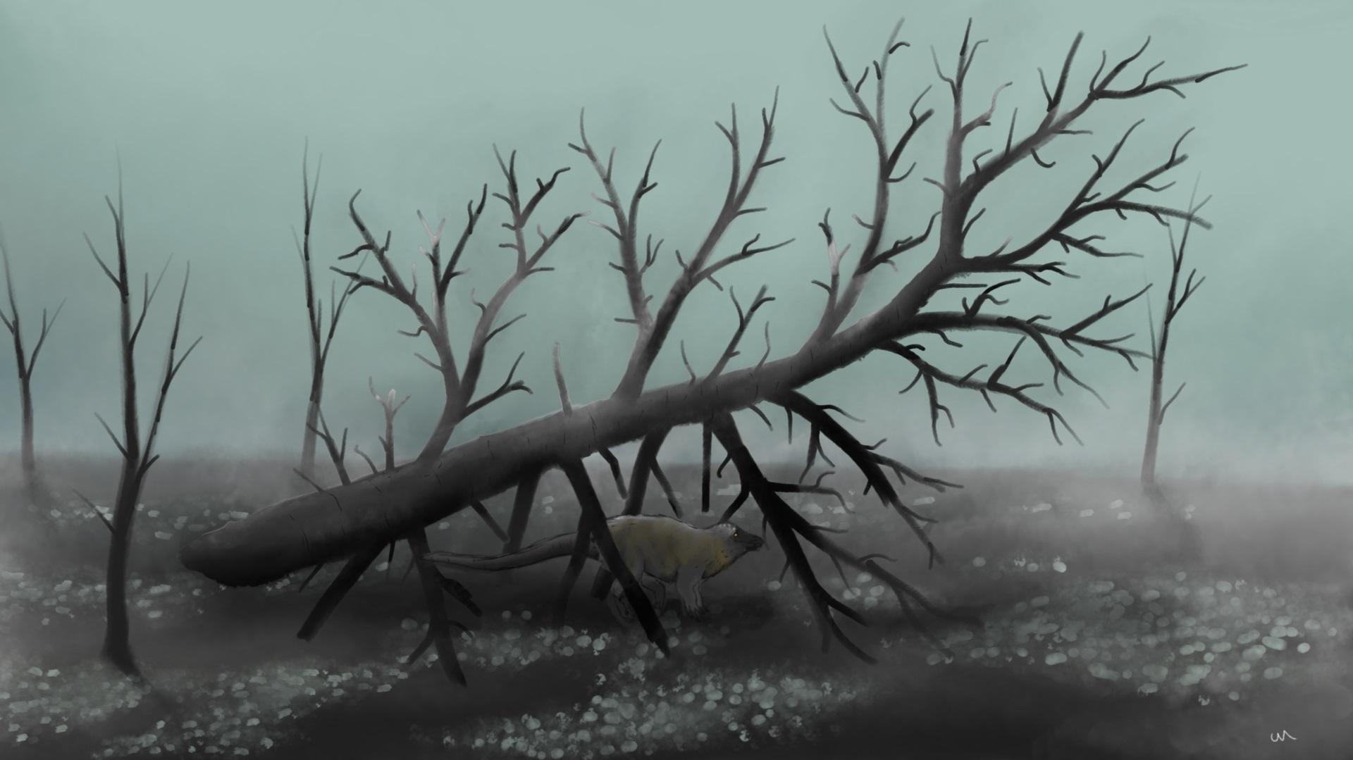 Ilustrace zobrazující ponurou atmosféru post-apokalyptického světa nejranějšího paleocénu. Osamělý jedinec ornitopodního dinosaura rodu Thescelosaurus je v tomto zdevastovaném světě odsouzen k pomalé smrti postupnou otravou toxickými plyny nebo vyhla