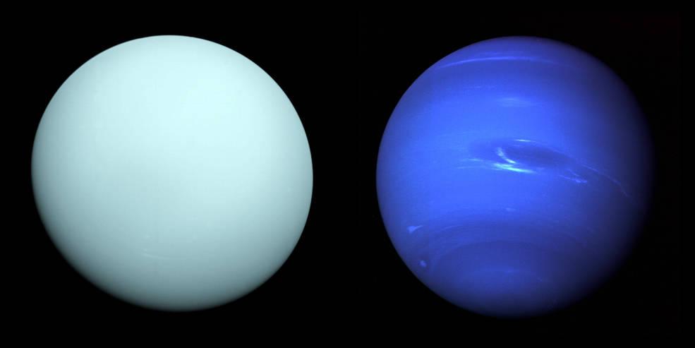 Ledoví obři Sluneční soustavy. Kredit: NASA/JPL-Caltech / NASA.