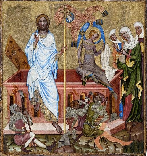 Zmrtvýchvstání Krista. Mistr Vyšebrodského oltáře, 1345 až 1350. Kredit: Národní galerie v Praze via Wikimedia Commons.