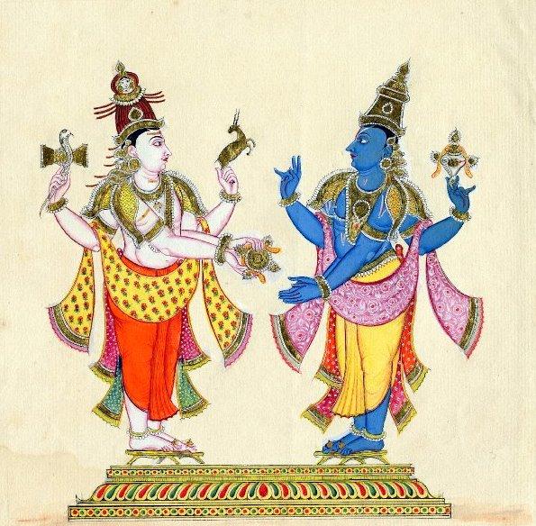 Hinduističtí Bohové Višnu a Šiva (Wikipedia, volné dílo)