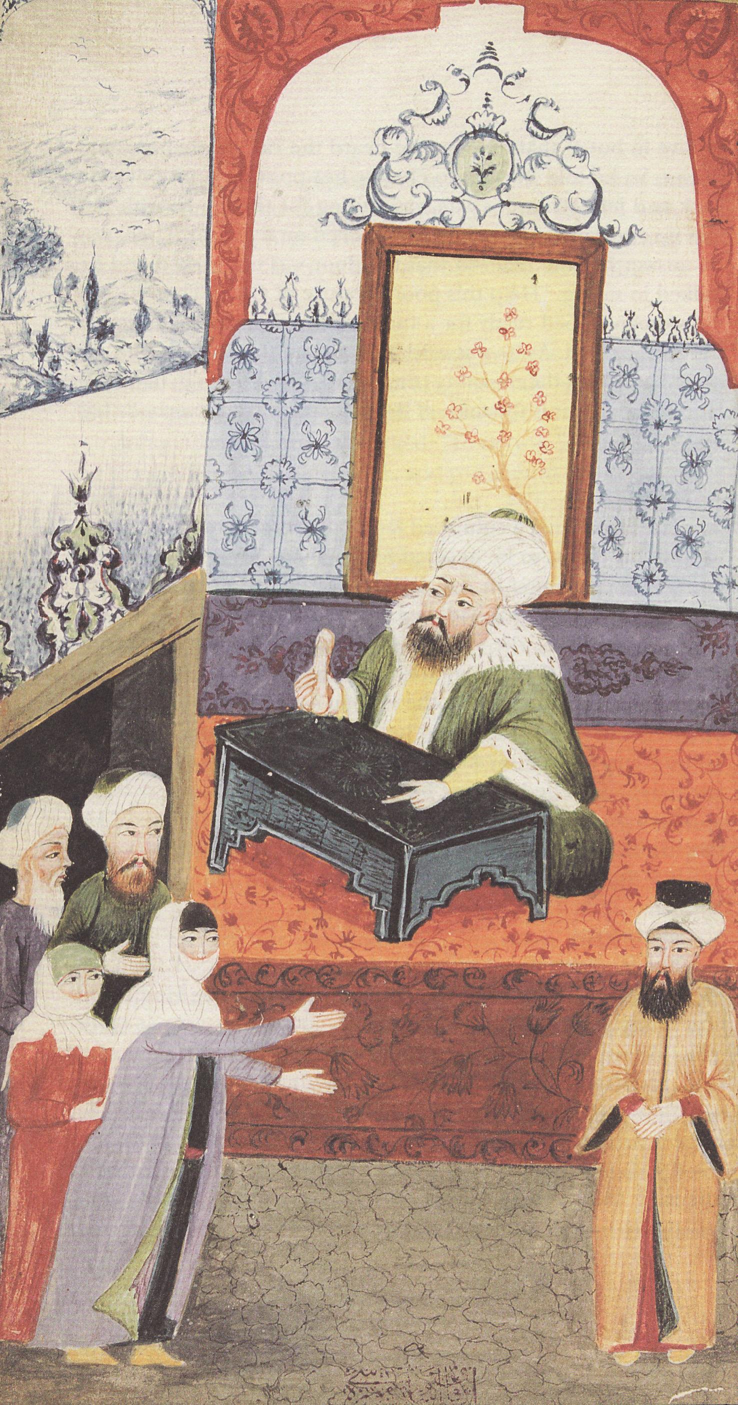Nešťastná žena si stěžuje u soudce (qadi)na manželovu neschopnost.Osmanská miniatura. Kredit: Sema Nilgün Erdo?an, Sexual life in Ottoman society, volné dílo.