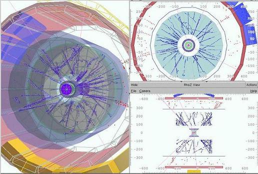 Sekvence několika pěkných srážek protonů zachycených experimentem ALICE 15. prosince 2009, v podobě jak jsou zobrazovány programem provádějícím průběžnou rekonstrukci drah částic (Kredit: Vasilij Kushpil).