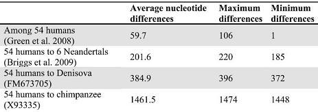 Tabulka průměrného počtu rozdílů v párech nukleotidů kompletní mtDNA 54 současných lidí a jednoho pleistocenního moderního člověka, šesti neandertálců a hominina z Děnisovy jeskyně. Kredit: S. Pääbo et al./Nature